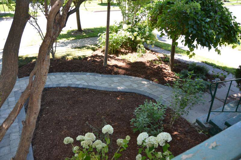 stone pathway with new garden bed natures image