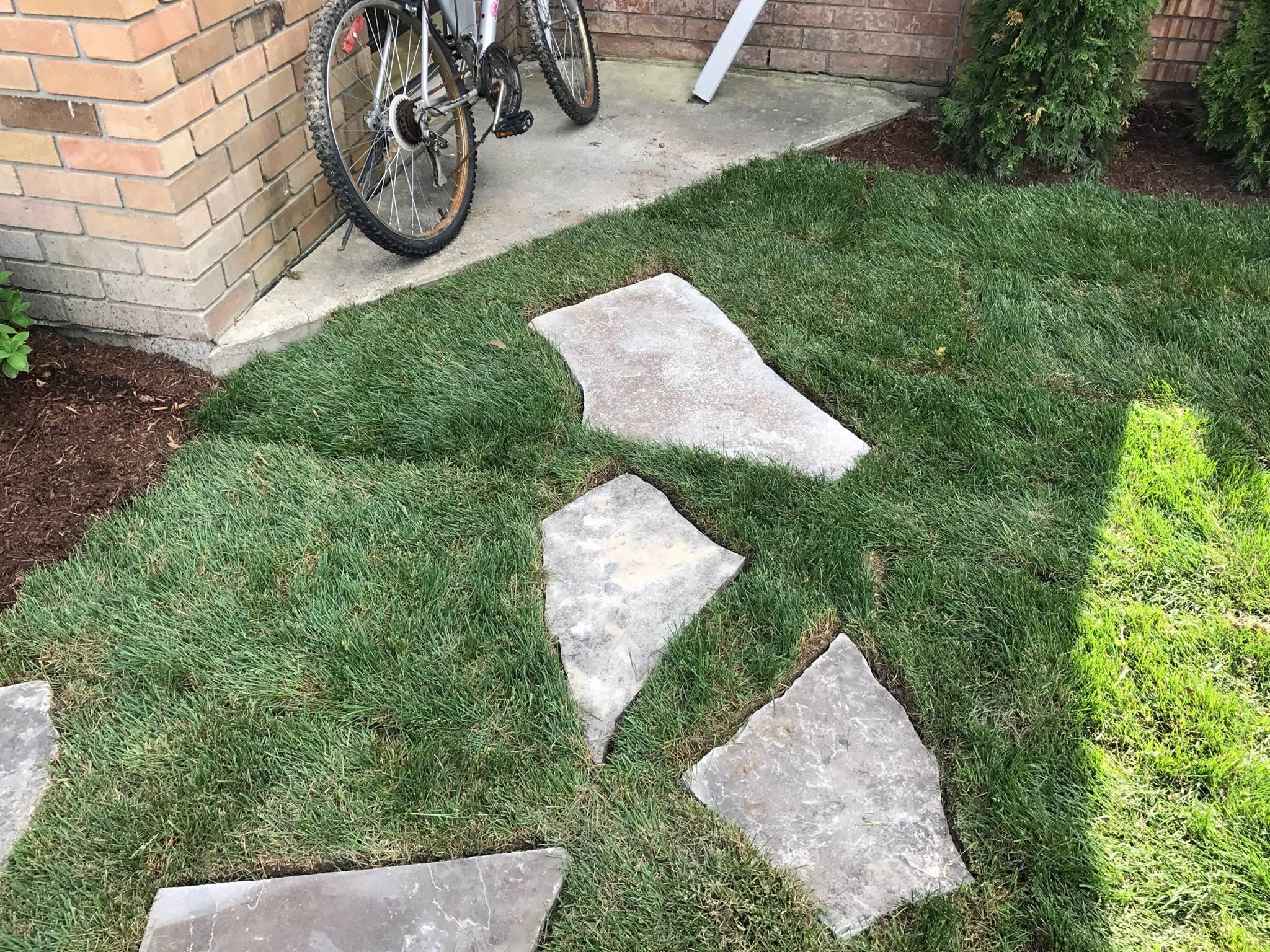 landscape construction new stone path