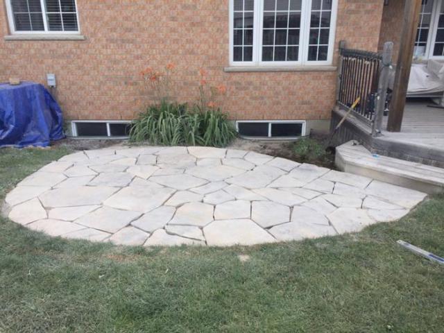 new stone landscape construction