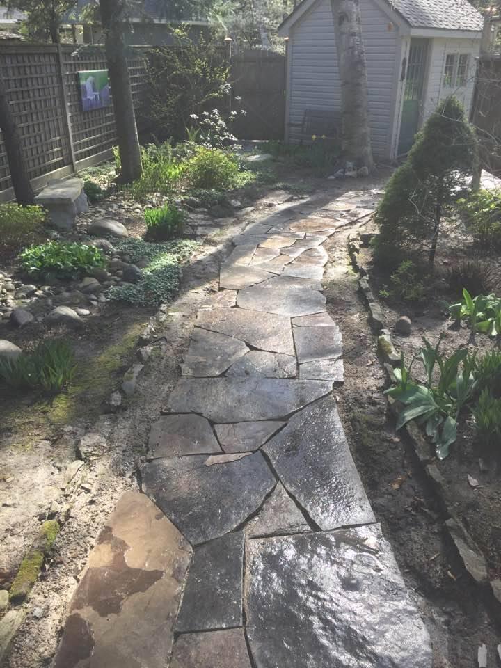 landscape construction of a garden path